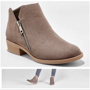 Universal Thread Taupe Dylan Laser Cut Booties 7.5